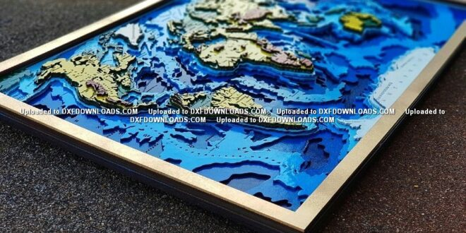 Multilayer world map cut vectors Free CDR