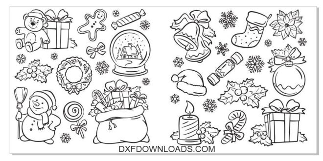 CDR and DXF Christmas Vectors pack