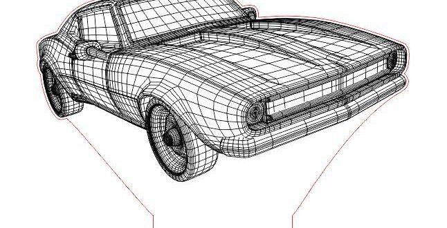 Laser engraving 3d illusion lamp Car 1960 2D Vector