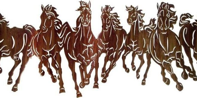7 Horses dxf vector to cut