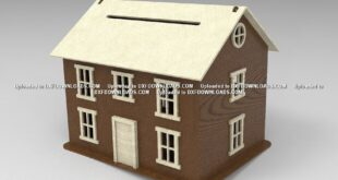 Laser Cut House Piggy Bank DXF File Free