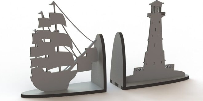 Ship shaped 3mm book holder MDF CNC File