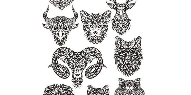 2D dxf cdr vector decor animals set