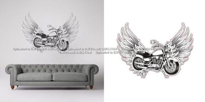 Motorcycle ornament for wall or engraving 3d illusion laser cut