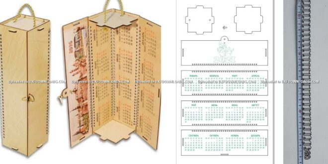 2021 calendar Free box for bottles for cutting and engraving laser