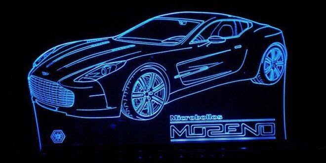 Laser engraving lamp Aston martin car