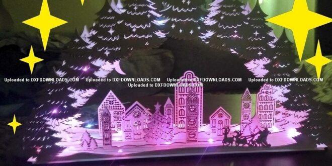 Christmas Village Lamp FREE Cut Vector CDR