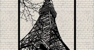 Wall Decor Frame Sticker Eiffel Tower CDR DXF Vectors