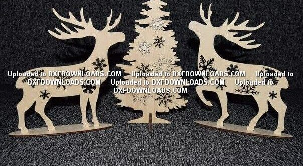 Free Deer at the Christmas tree cnc laser