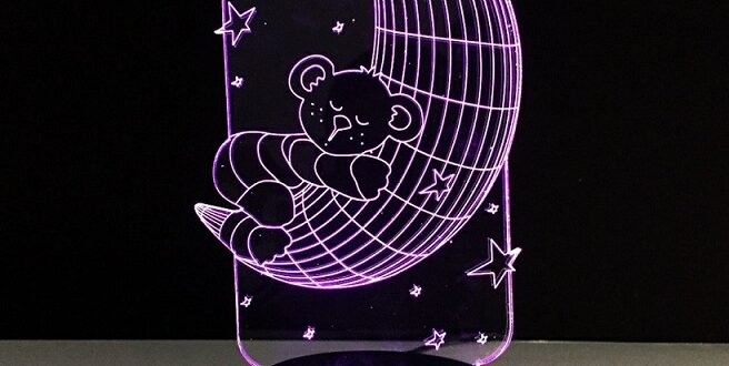 baby bear illusion LIGHT lamp acrylic laser engrave