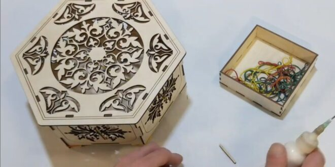 hexagon box mdf project to laser cut CDR DXf File