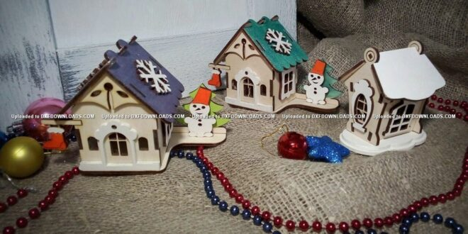 Free 3 houses new year christmas to laser cut