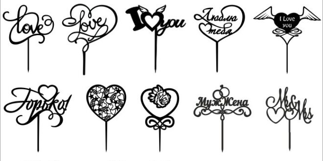 Set love toppers Wedding cake DXF and SVG