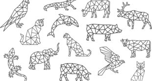 Polygonal animals set SVG and DXF vectors