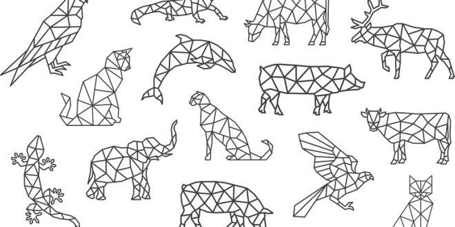 Polygonal animals set SVG and DXF vectors