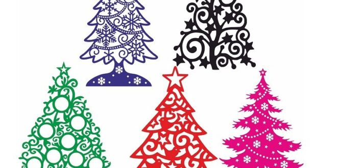 Collection of 5 Vector models 2d christmas tree