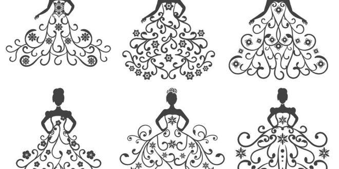 Wedding dress 2d vectors SVG DXF
