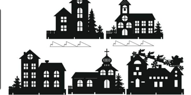 2d christmas houses cdr dxf file