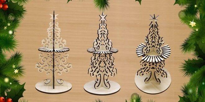Wood Laser cut Christmas tree napkin ring