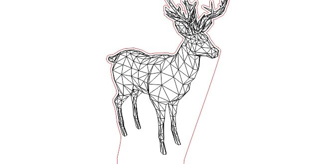 Deer for laser engrave night lamp