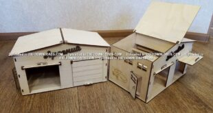 Free laser cut Garage for 2 cars in 3mm plywood