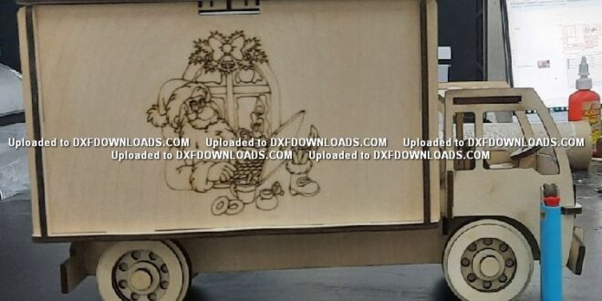 Free cnc laser plasma Santa Claus christmas truck vector for cut