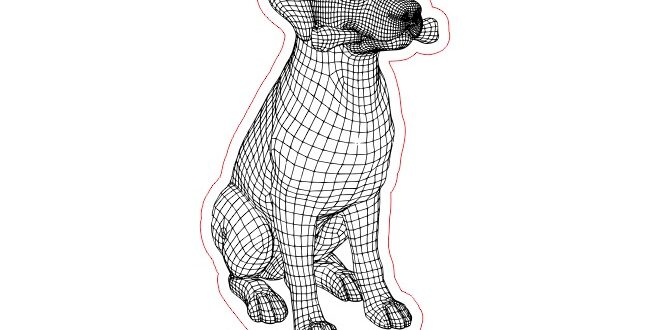 dog with bone 2d vector for laser engrave acrylic lamp