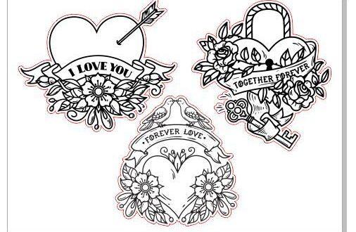Laser cut hearts under engraving