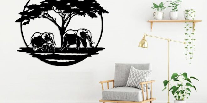 Silhouette vector panel elephants in africa