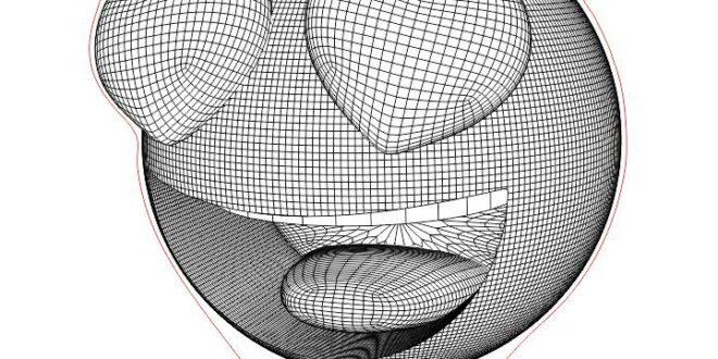 Heart emoji 3d illusion dxf to laser engraving
