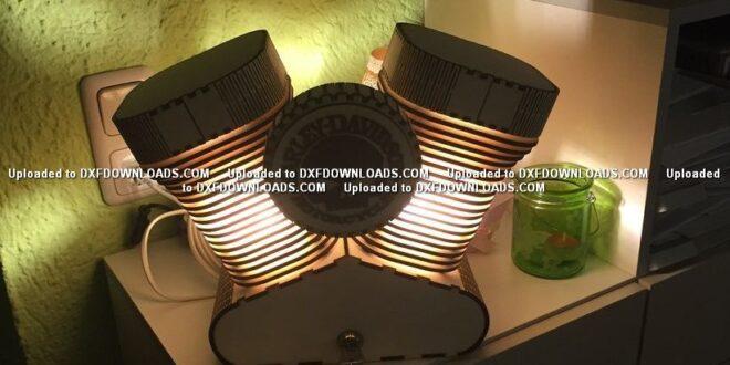 Free dxf wood laser cut harley night lamp