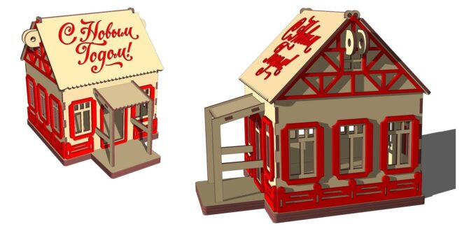 Box house with balcony