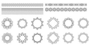 2D vectors pack Line effects guilloche set dxf svg