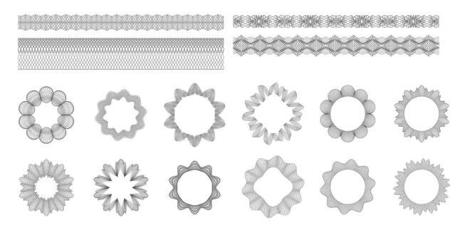 2D vectors pack Line effects guilloche set dxf svg