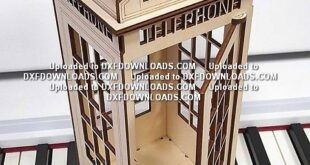 Free laser cut drawing English Telephone Booth