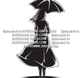 Free svg Girl with umbrella
