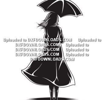Free svg Girl with umbrella