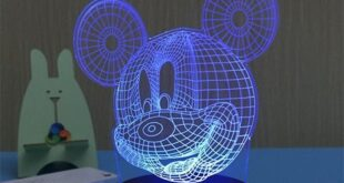 Mickey 3D illusion led night lamp vector laser engraving