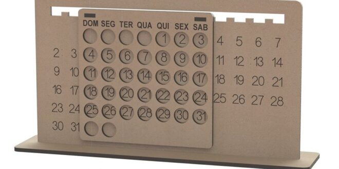 Perpetual calendar for Laser Cut MDF