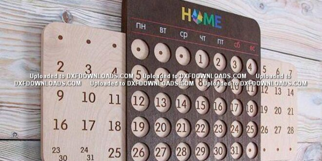 Home Perpetual calendar Free dxf file for laser cut