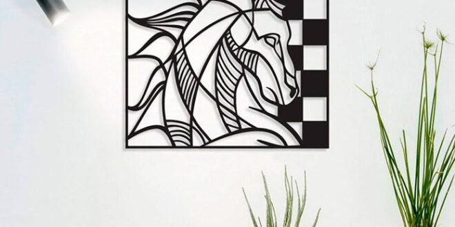 Wall decor cut file horse chess game cdr dxf