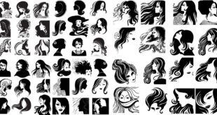 SVG Vectors Woman hair silhouettes pack