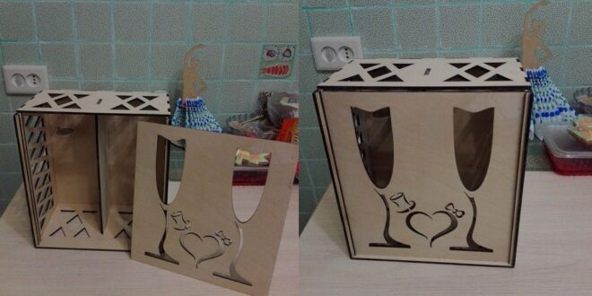 Gift box for two glasses for a wedding