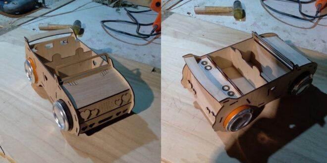Car soda can box for Laser cnc cut wood
