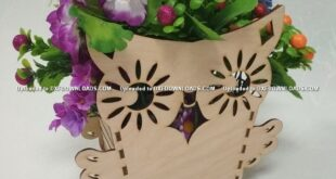 Free Owl cut flower box for laser cutting