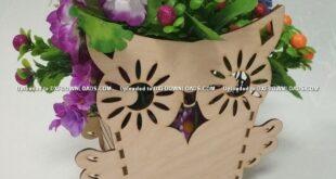 Free Owl cut flower box for laser cutting