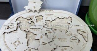 Free world map puzzle wood cnc cut