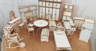 Pack miniature furniture for laser cutting wood