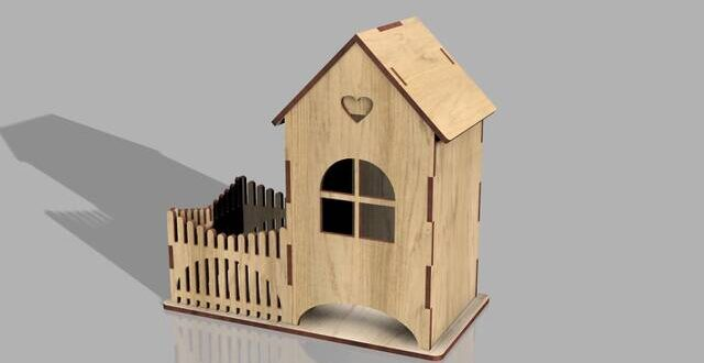 3mm plywood tea house CDR DXF Files