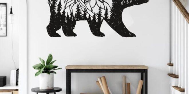 Bear silhouette wall cut template free